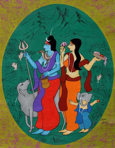 Figurative Acrylic Art Painting title Lord Shiva by artist Chetan Katigar