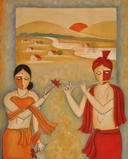 Figurative Oil Art Painting title 'Love 2' by artist Chetan Katigar