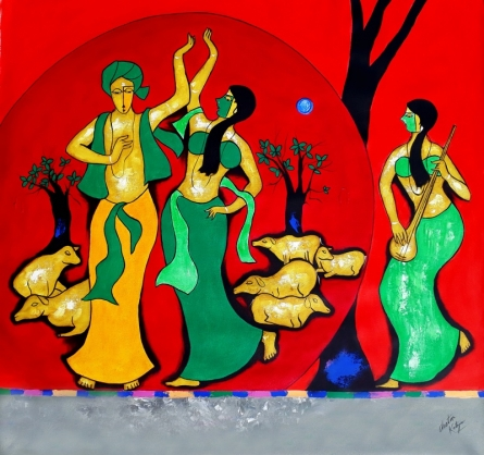 Figurative Acrylic Art Painting title 'Moment Of Love' by artist Chetan Katigar