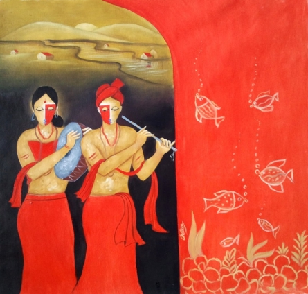 Figurative Oil Art Painting title Musical Couple by artist Chetan Katigar
