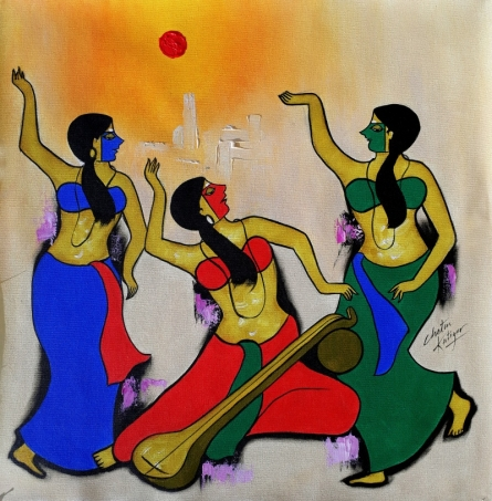 contemporary Acrylic Art Painting title Musical Group by artist Chetan Katigar