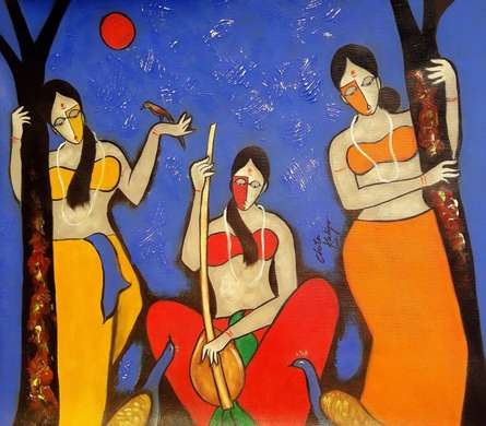 Figurative Mixed-media Art Painting title 'Musical Night' by artist Chetan Katigar