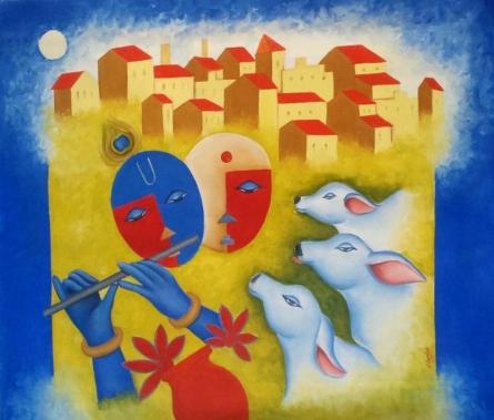 Chetan Katigar | Oil Painting title Radha Krishna Love on Canvas | Artist Chetan Katigar Gallery | ArtZolo.com