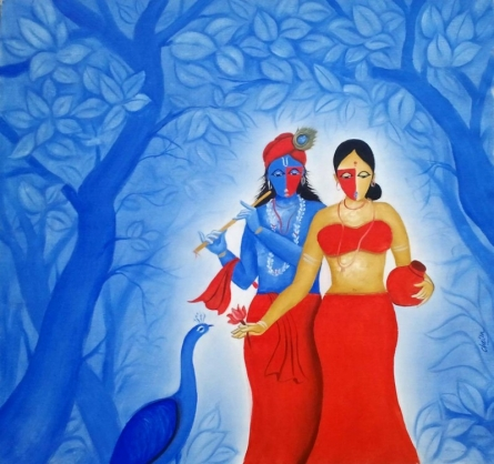 Religious Oil Art Painting title 'Radha Krishna' by artist Chetan Katigar