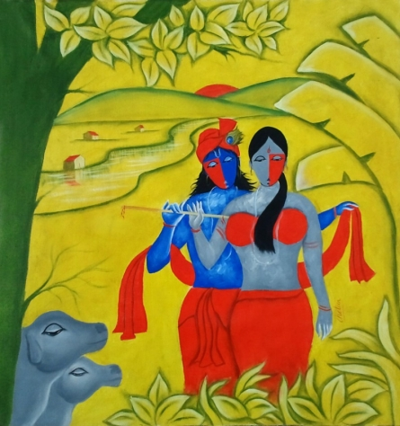 Radha Krishna - 3 | Painting by artist Chetan Katigar | oil | Canvas