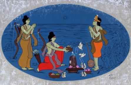 contemporary Acrylic Art Painting title Ram Worshipping Lord Shiva by artist Chetan Katigar