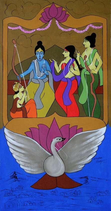 Religious Acrylic Art Painting title Ramchandra On Pushpak Viman by artist Chetan Katigar