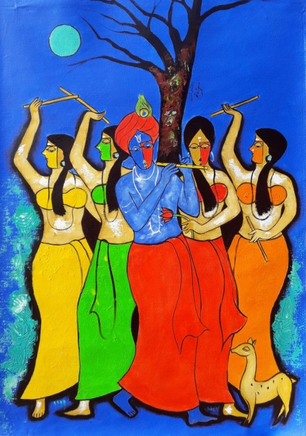 Figurative Mixed-media Art Painting title 'Ras Leela' by artist Chetan Katigar