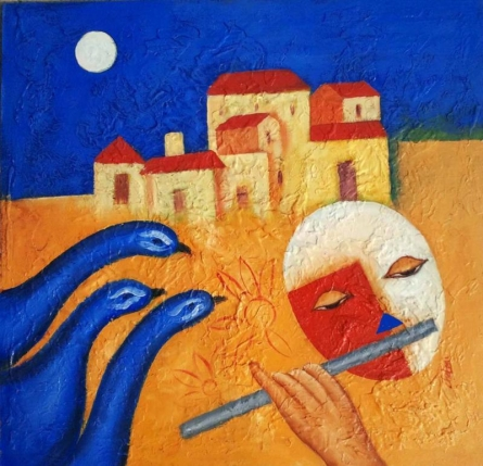 Rhythm Of Music 1 | Painting by artist Chetan Katigar | oil | Canvas