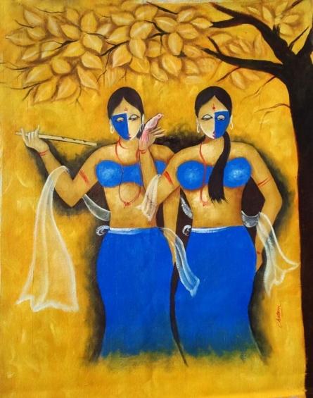 Impressionist Oil Art Painting title 'Sakhi 2' by artist Chetan Katigar