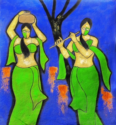 Figurative Mixed-media Art Painting title 'Sakhi' by artist Chetan Katigar