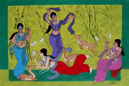 contemporary Acrylic Art Painting title Shakuntala With Friends by artist Chetan Katigar