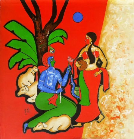 Figurative Mixed-media Art Painting title 'The Krishna' by artist Chetan Katigar