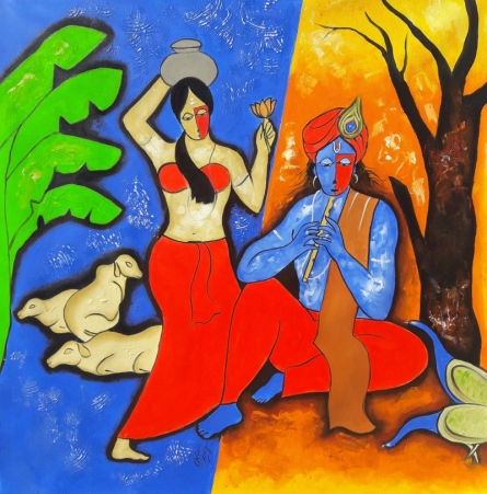 Figurative Mixed-media Art Painting title 'The Krishna 3' by artist Chetan Katigar