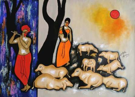 The Music Backon - | Painting by artist Chetan Katigar | acrylic | Canvas