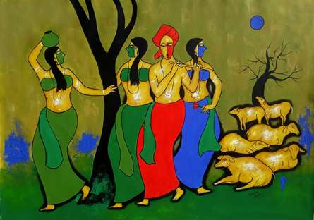 Figurative Acrylic Art Painting title Together by artist Chetan Katigar