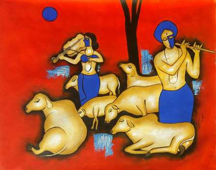 Figurative Mixed-media Art Painting title 'Together' by artist Chetan Katigar