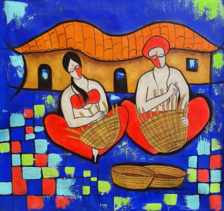 Figurative Mixed-media Art Painting title Villager by artist Chetan Katigar