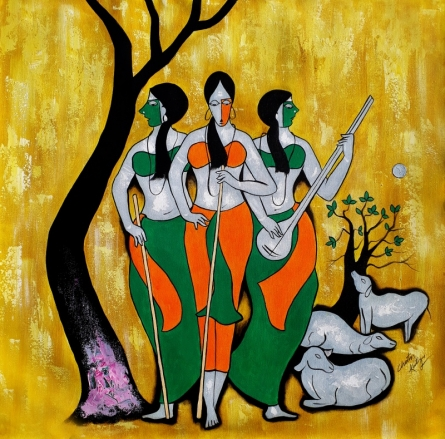 contemporary Acrylic Art Painting title 'Villager 2' by artist Chetan Katigar