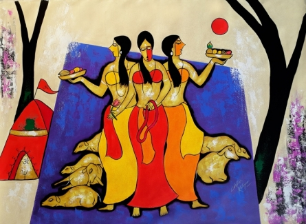 Chetan Katigar | Acrylic Painting title Worship on Canvas | Artist Chetan Katigar Gallery | ArtZolo.com