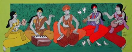 contemporary Acrylic Art Painting title Worship by artist Chetan Katigar