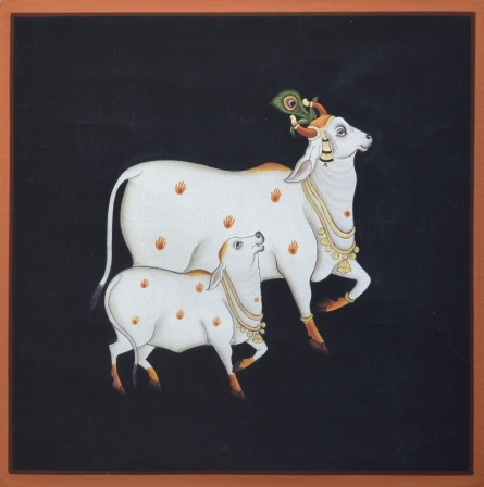 art, traditional, pichwai, cotton cloth, animals, cow