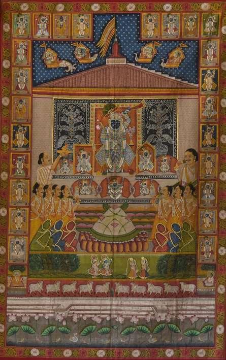 Sreenathji Aarti - Pichwai Art | Painting by artist Artisan | other | Cloth