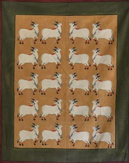 Folk Art Tribal Art Painting title Cows 2 Pichwai Art by artist Artisan