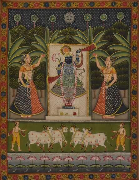 Folk Art Tribal Art Painting title Sreenathji Pichwai Art 1 by artist Artisan