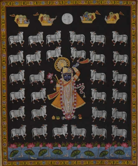 Krishna With Cows - Pichwai Art | Painting by artist Artisan | other | Cloth