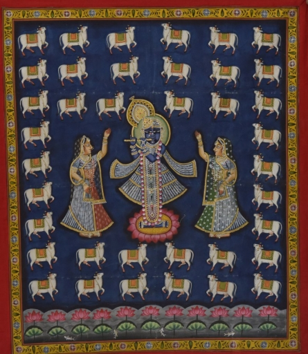 Krishna Playing Flute - Pichwai Art | Painting by artist Artisan | other | Cloth