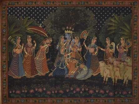 Krishna Raas Leela - Pichwai Art | Painting by artist Artisan | other | Cloth