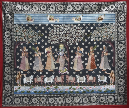 Pichwai | Mixed-media Painting title Pichwai on Cotton Cloth | Artist Pichwai Gallery | ArtZolo.com