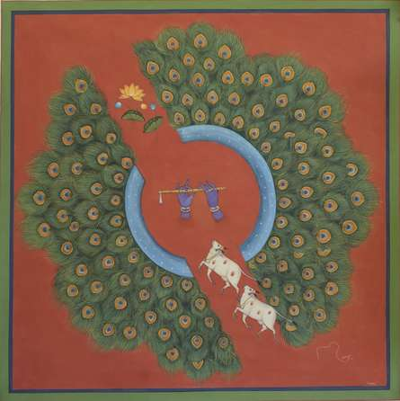 Religious Tribal Art Painting title 'Pichwai' by artist Pushkar Lohar