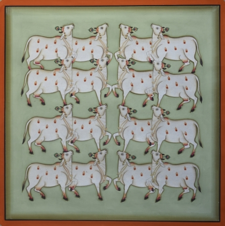 Traditional Indian art title Pichwai 10 on Cotton Cloth - Pichwai Paintings