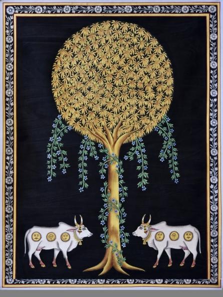 Pichwai Art | Pichwai Traditional art title Pichwai 19 on Cotton Cloth | Artist Pichwai Art Gallery | ArtZolo.com