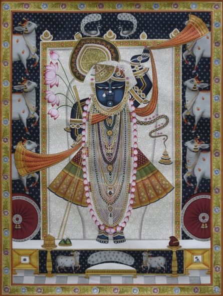 Traditional Indian art title Pichwai 27 on Cotton Cloth - Pichwai Paintings