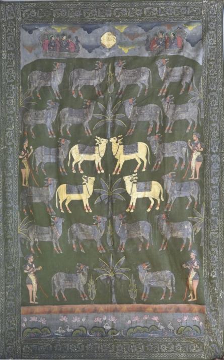 art, traditional, pichwai, cotton cloth, animal