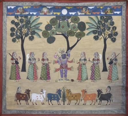 Pichwai Art | Pichwai Traditional art title Pichwai 37 on Cotton Cloth | Artist Pichwai Art Gallery | ArtZolo.com