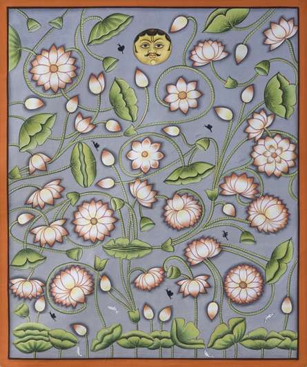 Traditional Indian art title Pichwai 6 on Cotton Cloth - Pichwai Paintings
