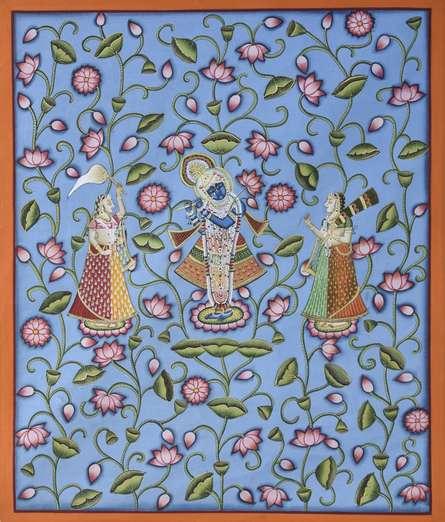 Pichwai Art | Pichwai Traditional art title Pichwai 7 on Cotton Cloth | Artist Pichwai Art Gallery | ArtZolo.com