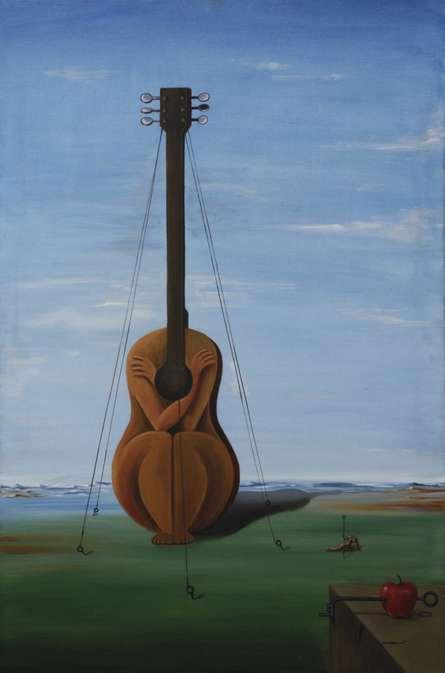 Surrealist Oil Art Painting title Enslaved By Self by artist Dewakar Chandran