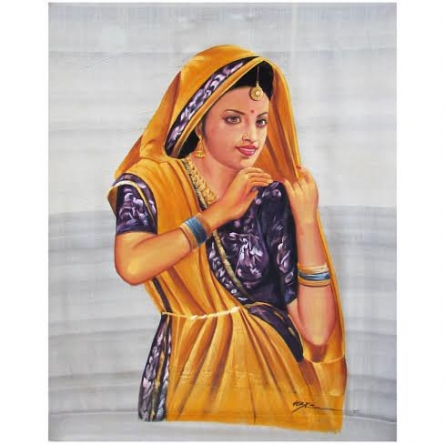 Figurative Watercolor Art Painting title BEAUTIFUL LADY by artist Indian Miniture