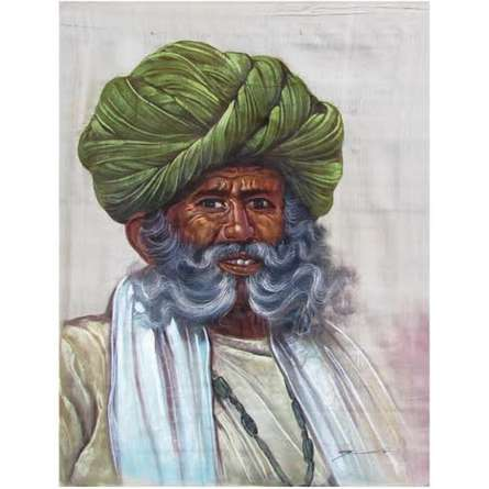 Figurative Watercolor Art Painting title OLD MAN by artist Indian Miniture
