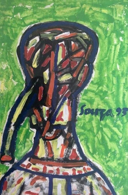 Figurative Acrylic Art Painting title Head by artist F N Souza