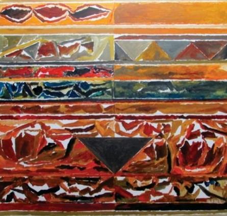 Abstract Acrylic Art Painting title 'Khoj' by artist S H Raza