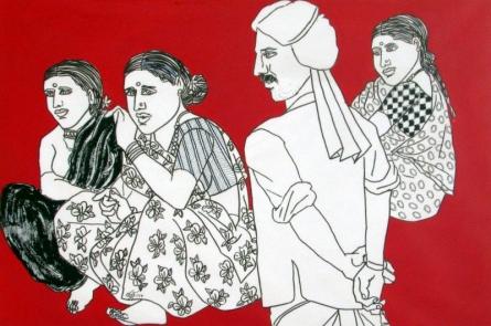 Figurative Acrylic Art Painting title Family Gossip by artist Laxman Aelay