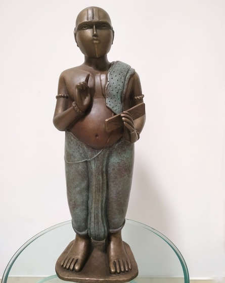 Bronze Sculpture titled 'Pandit' by artist Thota Vaikuntam