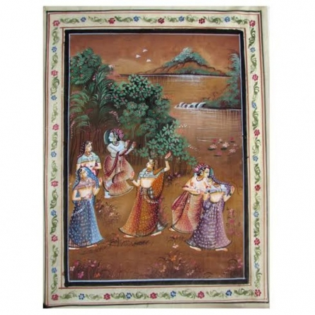 RADHA AND KRISHNA   Painting by artist Indian Miniture   watercolor   Others