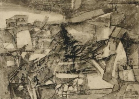 Abstract Mixed-media Art Drawing title 'Untitled 5' by artist Ram Kumar